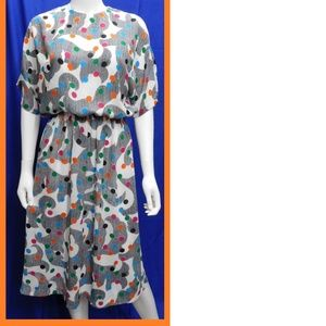 Vintage Polkadot Colorful Dress Size 10 Cathy Sue